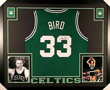 ae8a6b701e7 Larry Bird Signed Boston Celtics 35x43 Custom Framed Green Jersey (JSA COA)