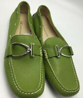 Anne Klein KKDAVIS Pebble Lime Green Leather Moccasin Driving LOAFER Size 8 M