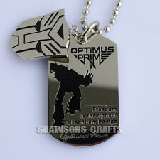 316L STAINLESS STEEL DOG TAG TRANSFORMERS LOGO AUTOBOT OPTIMUS PRIME NECKLACE