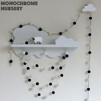 Monochrome Nursery,Black and White Pom Pom Garland,White Felt Bunting,Eco Baby