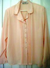 LIZ BAKER ESSENTIALS 16 Petite-Pink DressyFeels like Silk Blouse-Long Sleeves