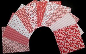 "Mono RED & WHITE  Scrapbooking Papers x 10 ~ 15cm x 15cm (6"" X 6"")"