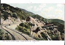 car on  circular bridge  mt lowe california postcard