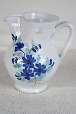 FATTO A MANO WHITE BLUE FLORAL PITCHER GLASS OR CLAY HANDMADE IN ITALY
