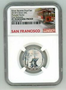 2018 S SILVER QUARTER 25C PICTURED ROCKS REVERSE PROOF NGC PF70 FR TROLLEY X12