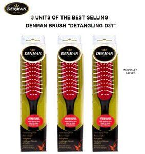 3 x Denman D31 Classic 7 Row Styling Detangling HairBrush Black & Red TOP Choice