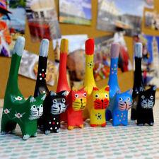 Set of 6 Swedish Multi-Colored Wood Cat Figurine Statue Decorative Cat Xmas Gift