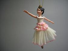 Ballet Ballerina Dancer Black Hair White Pink Sequin Dress Crown Ornament NWT