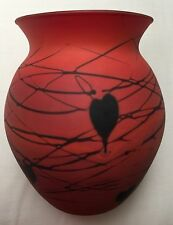 Fenton Hanging Hearts Burnt Orange Satin Finish Art Glass Vintage