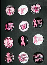 6 X Pink Ribbon BADGE Button Pin Breast Cancer Awareness Fundraiser fund Raising