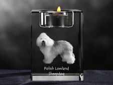 Polish Lowland Sheepdog, crystal candlestick with dog, Crystal Animals Ca
