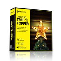 Christmas Tree Star Topper Lighted Gold Glitter 3D Snowflake Falling Lighting