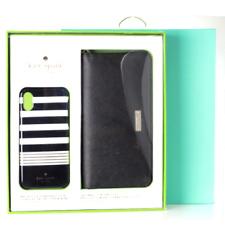 Kate Spade Universal Zip Wristlet and iPhone X & XS Case Gift Set Box Gold Black