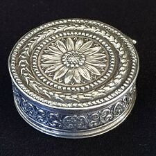 Antique Repousse Sterling Silver Snuff Box, Pill or Trinket Box Hallmarked 1911.