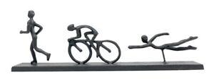 Striking Black Iron Triathlon Figures Ornament Trophy Running Cycling Swimming M
