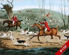 CHAOTIC FOX HUNT HORSE EQUESTRIAN HUNTING CHAOS ART PAINTING REAL CANVAS PRINT