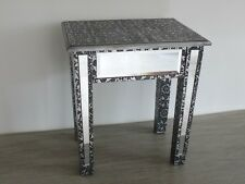 Black Silver Embossed side table Mirrored Stool / Dressing Table Stool