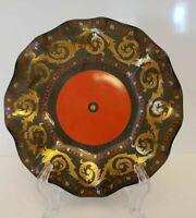 "6"" Scalloped Edged Trinket Dish Ash Tray Black Red Gold Ceramic"