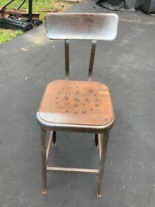 Vtg Industrial LYON Stool Chair Pressed Wood Steel