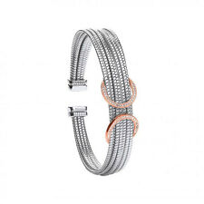 Sterling Silver & Rose Gold Plated Circles Ladies Bangle with White Stones
