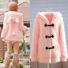 Cute Women Warm Lolita Bunny Rabbit Ear Sherpa Hoodie Jacket Coat Outerwear