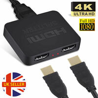 HDMI Splitter 1 Input 2 Output 4K HD Dual Output Adapter HDMI 1 In 2 Out Box UK