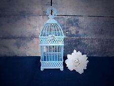 Small Distressed Antique Blue Square Iron Bird Cage ~ Rustic Shabby Chic Decor