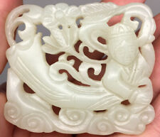 Fine Chinese Qing Dynasty Jade Carved Openwork 'Fei Tian' Belle Flying Female