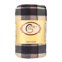 Tartan Checked Large Polar Fleece Warm Soft Blanket Sofa Bed Throws - Coffee