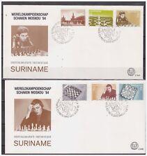 Surinam / Suriname 1984 FDC 84ab Schaken chess schach echecs kasparov karpev