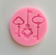Key Soft Silicone Mold Fondant Mat Cake Decorating Cupcake Design Keys Lock