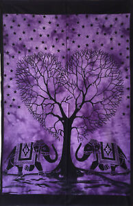 Wall Hanging Wonderful Heart Elephant Tree Design Cotton Fabric Tapestry Twin
