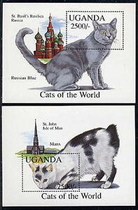 UGANDA, Sc #1250-51, MNH, 1994, S/S, Cats, Russian Blue, Manx, A1FIDD-9