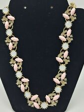 Rhinestones And Pink Statement Cluster Necklace Stunning Piece
