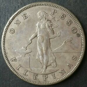 1905 S Philippines One Peso Silver