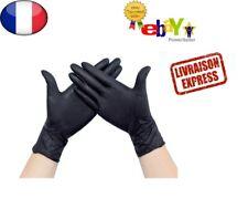 Gants latex Jetable nitrile Noir Protection non poudrés 10/50/100X