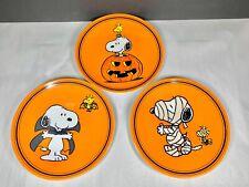 Pottery Barn kids Peanuts Snoopy Melamine Halloween Pumpkin Plates Holiday