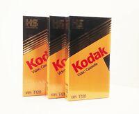 Vtg lot of 3 Kodak t-120 high standard vhs video cassette tape new sealed nos