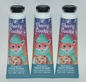 3 BATH & BODY WORKS MERRY COOKIE SHEA BUTTER HAND CREAM LOTION 1OZ TRAVEL SIZE