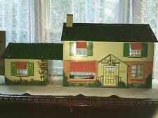 Vintage Marx 2 Story Tin 6 Room Doll House with Game Room & Furniture