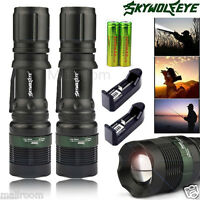 2SET 8000LM Tactical T6 LED Flashlight Torch Zoom 18650 Torch+Charger