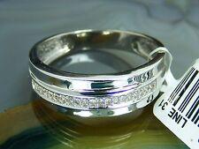 Vtg 10k White Gold 0.08 Diamond Mens Wedding BAND Ring Sz 10.5 New Tag $749