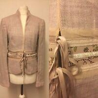Dusky Pink Linen Mix Principles Jacket Lots Of Detail Uk Size 10