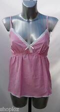Ladies M&S Sizes 14 Pink White Check Pure Cotton Pyjama Camisole Top Bnwot