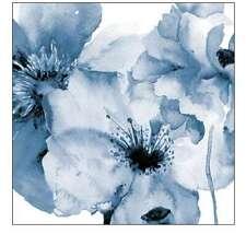 INDIGO FLORAL ART PRINT, WALL ART HOME DECOR CANVAS - FLOWING FLOWERS 2