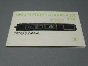 Minolta Pocket Autopak 450E / 430E Instruction Manual - Original not a copy