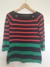 JANE LAMERTON Top, 12 - 14, Navy Blue, Red, Green Stripe, Excellent Condition