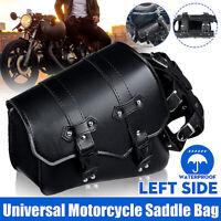 Left Motorcycle Saddlebag Side Bag Pannier Luggage & Bottle Holder PU Leather