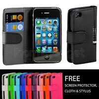 NEW LEATHER WALLET CASE COVER FOR APPLE IPHONE 4 /4S + SCREEN PROTECTOR STYLUS