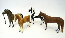 Mixed Lot of 4 VTG Plastic Toy Horses | 1 Breyer Brown Pinto #57, 3 Unmarked